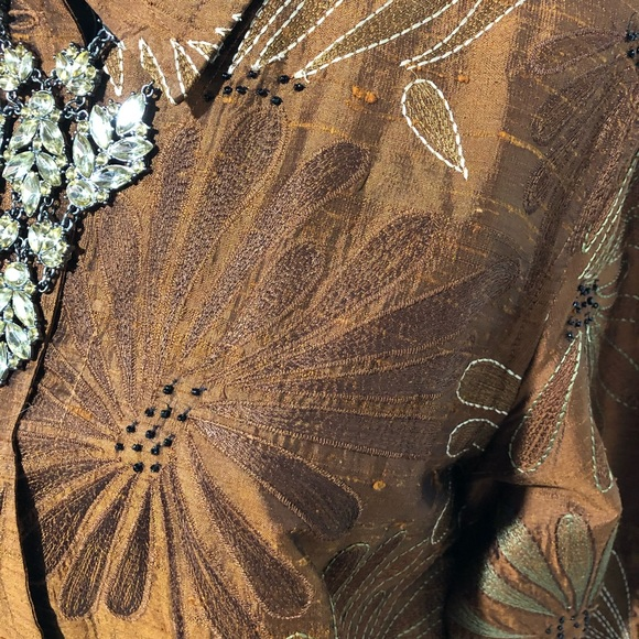 Vtg Chico/'s Silk Embroidered Shirt Jacket in Brown sz 1 New Old Stock
